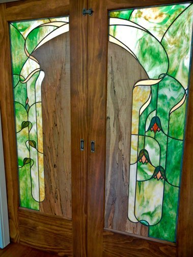 Ambrosia Maple And Stained Glass Pocket Doors