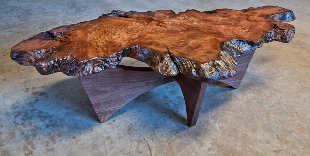 Reclaimed Redwood Burl Coffee Table With Walnut Double Bow Base