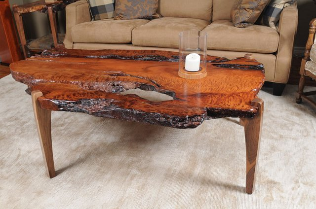 Redwood Burl Coffee Table With Walnut