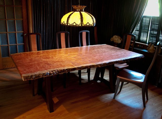 Bubinga Dining Table With Arched Base And Matching Chairs