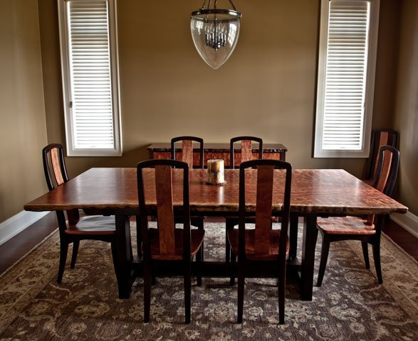 Bubinga Dining Table With Matching Chairs