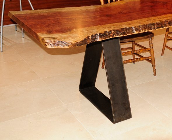 Stunning Bubinga dining table with hand crafted triangle steel base. 590 x 480 · 46 kB · jpeg