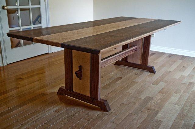 Walnut And Birdseye Maple Dining Table